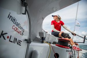 Sam Davies racing on Tanguy de Lamotte's IMOCA 60 Initiatives Coeur approaches Land's End © Initiatives Coeur