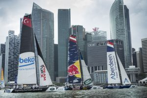 The Extreme Sailing Series 2015, Act 1, Singapore Team Turx, Red Bull and Team Aberdeen Credit Lloyd Images