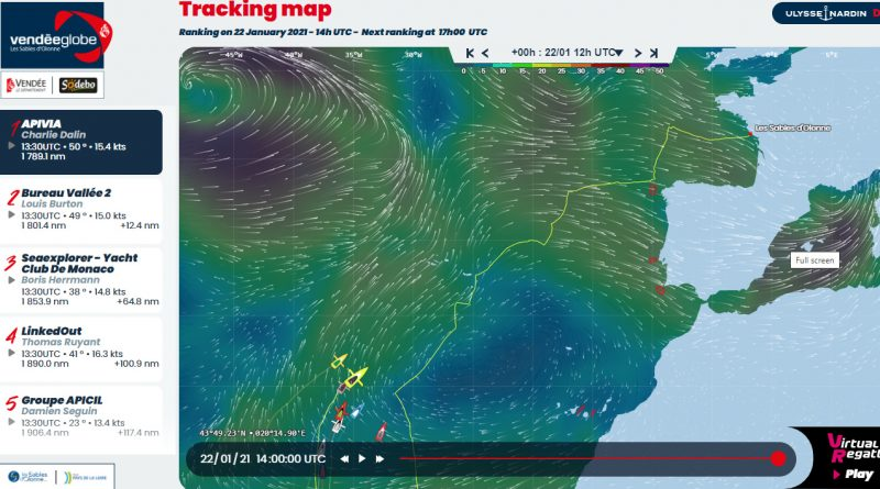 Vendee Globe Tracking Map 22/01/2021